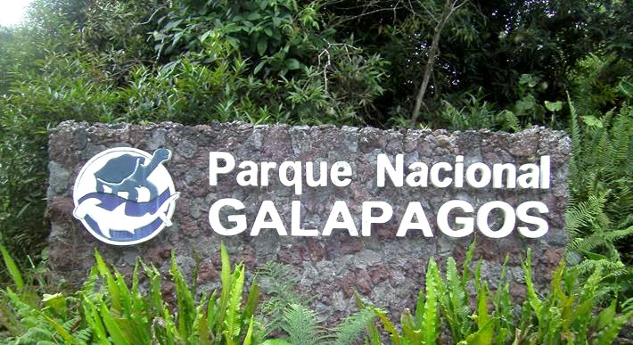 Galapagos national park sign