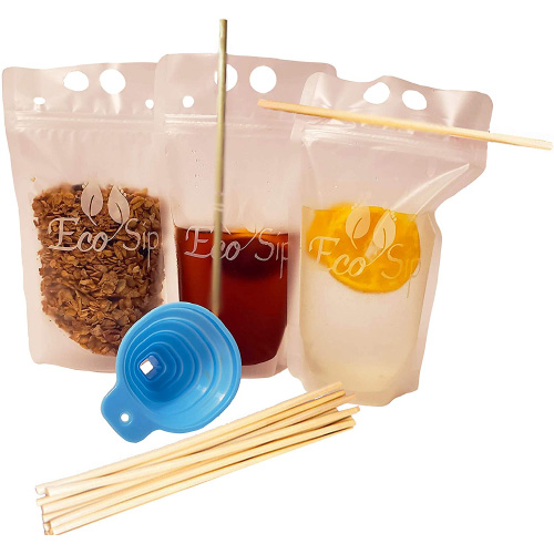 Biodegradable Disposable Drink Pouches by EcoSip
