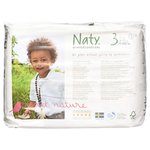 Naty by Nature Babycare Eco-Friendly Premium Disposable Diapers for Sensitive Skin
