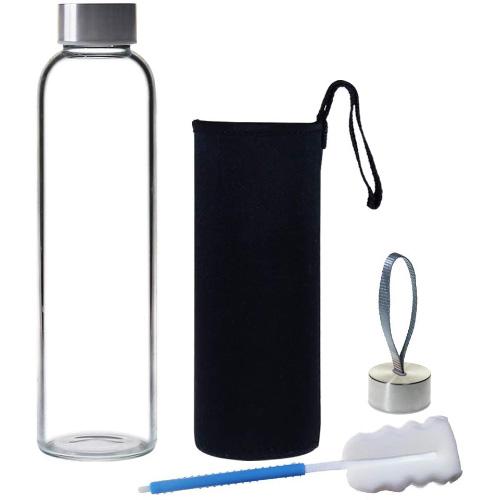 YEBODA 18 oz Borosilicate Glass Water Bottle Ecofriendly Reusable